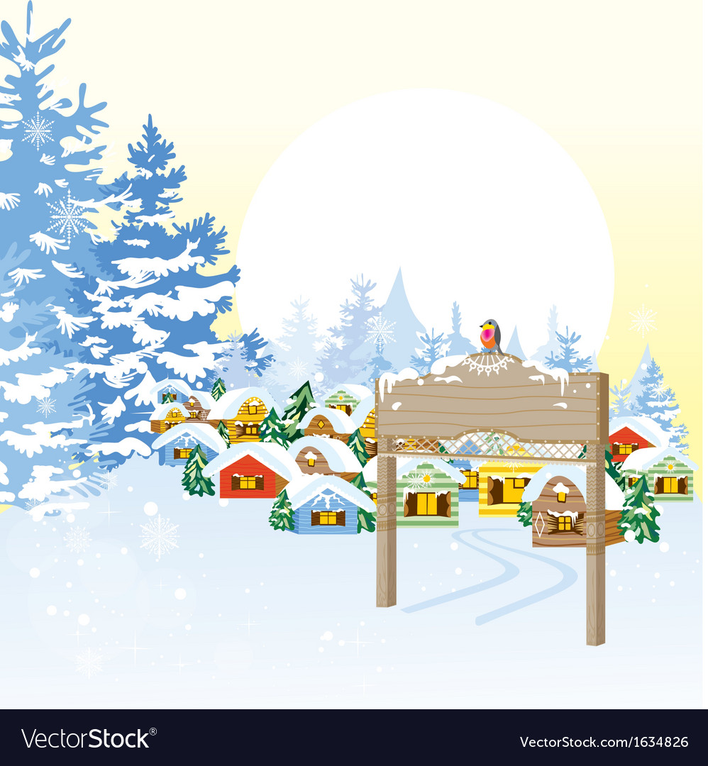 Christmas card with village vector | Price: 3 Credit (USD $3)