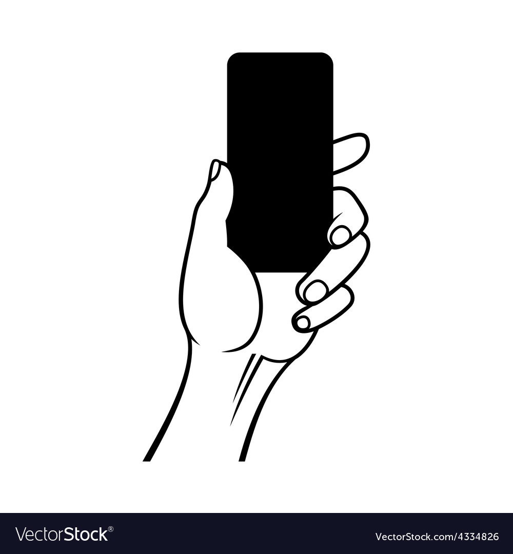 Hand holding smart phone on white background vector | Price: 1 Credit (USD $1)