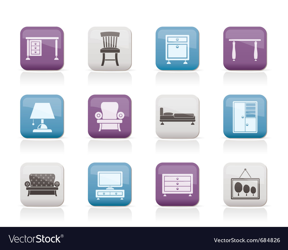 Home equipment and furniture icons vector | Price: 1 Credit (USD $1)
