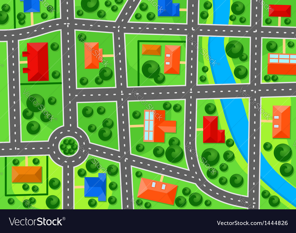 Map of suburb town vector | Price: 1 Credit (USD $1)