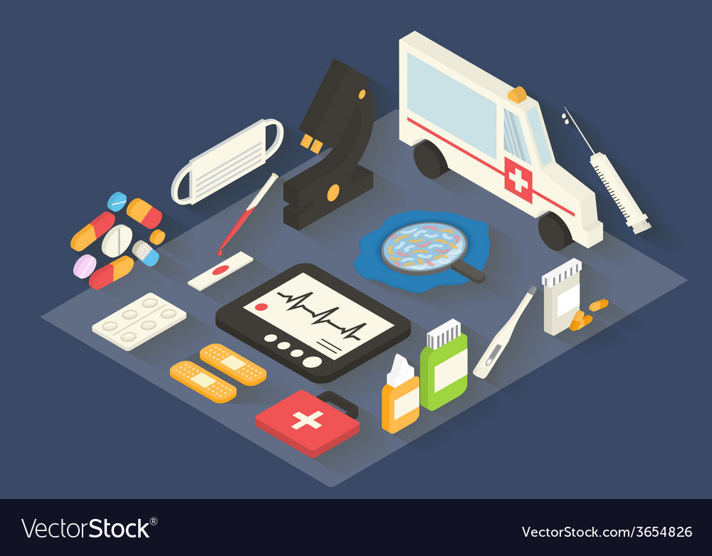 Medical icons set healthcare infographic 3d vector | Price: 1 Credit (USD $1)