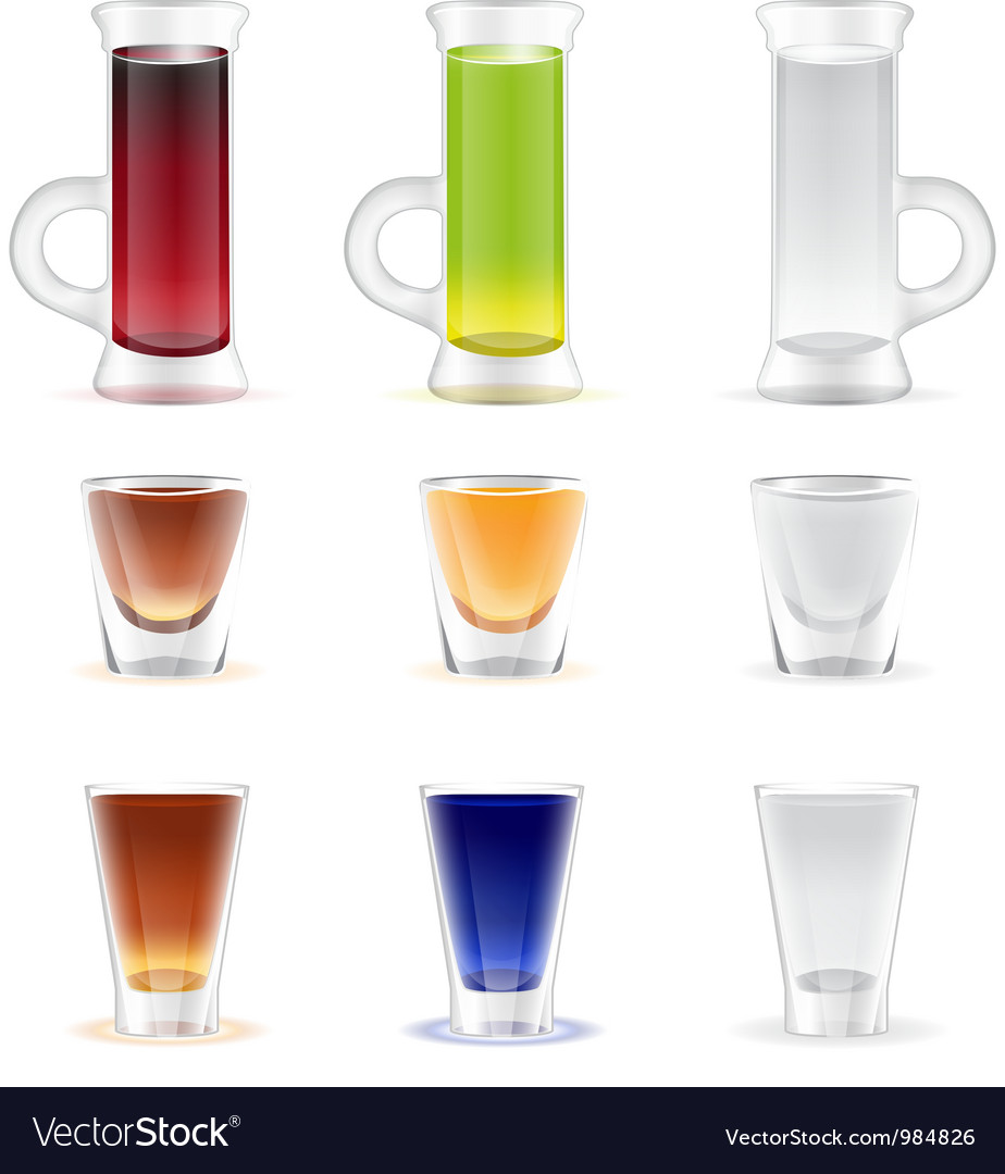 Mix of colorful alcohol shots drink vector | Price: 3 Credit (USD $3)