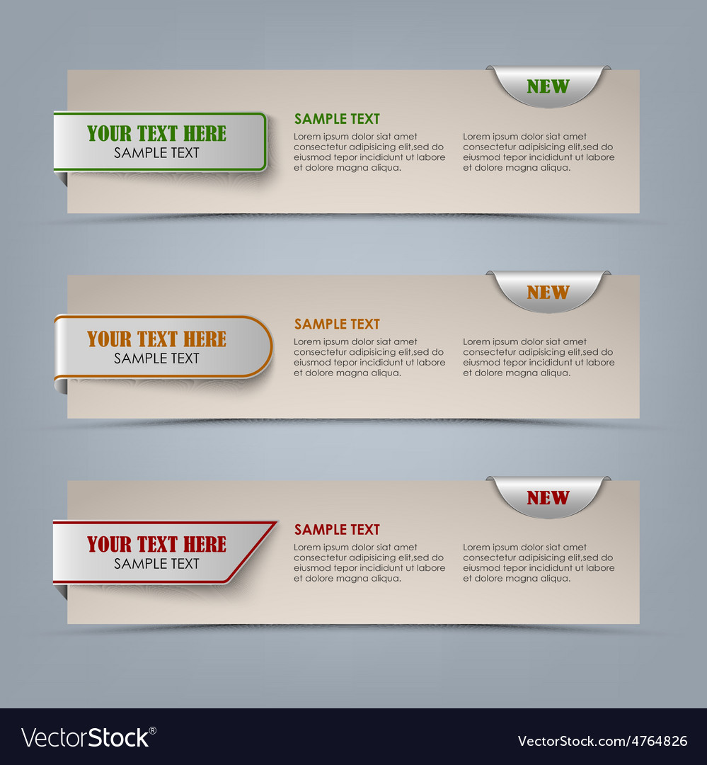 Modern horizontal banners with colored pointers vector | Price: 1 Credit (USD $1)