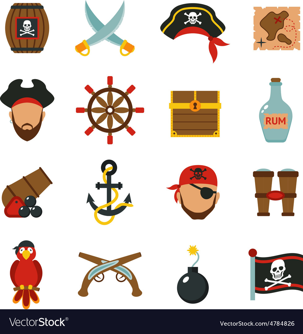 Pirate icons set flat vector | Price: 3 Credit (USD $3)