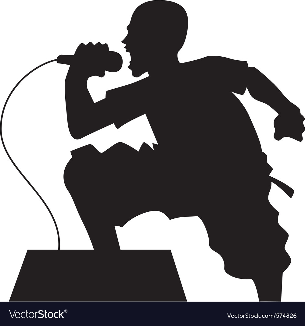 Rock singer silhouette vector | Price: 1 Credit (USD $1)