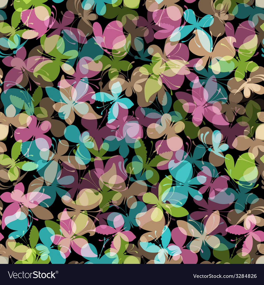 Seamless pattern of colored butterflies on black vector | Price: 1 Credit (USD $1)