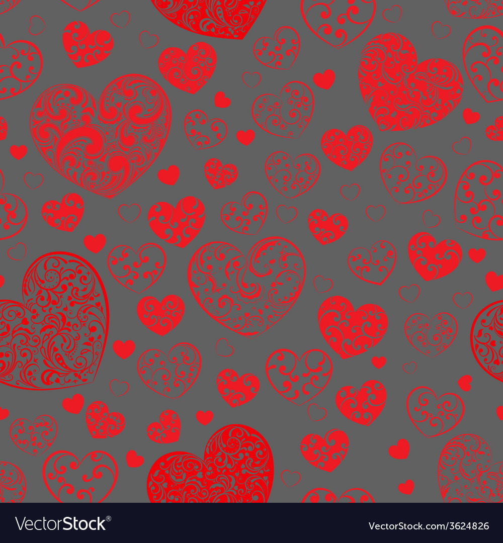 Seamless pattern of hearts vector | Price: 1 Credit (USD $1)