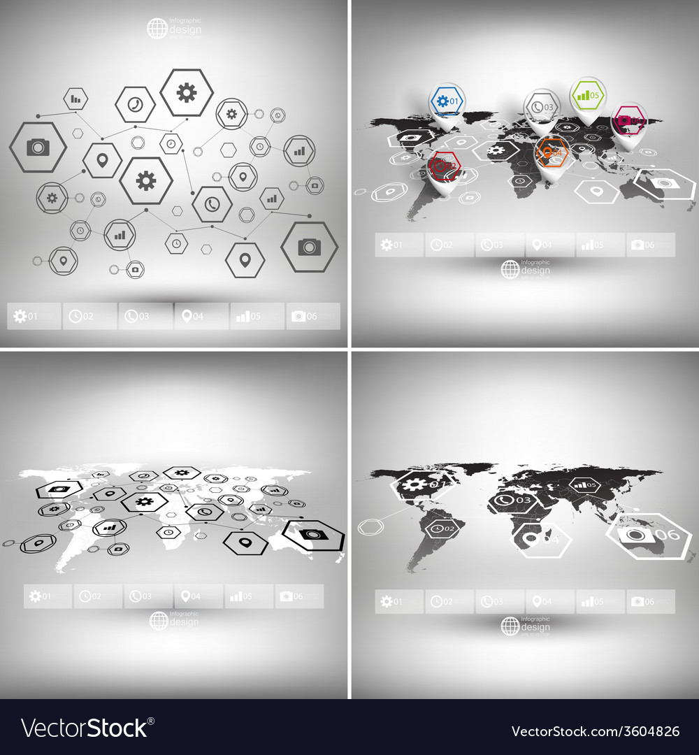 Set of world maps in perspective infographic vector   Price: 1 Credit (USD $1)