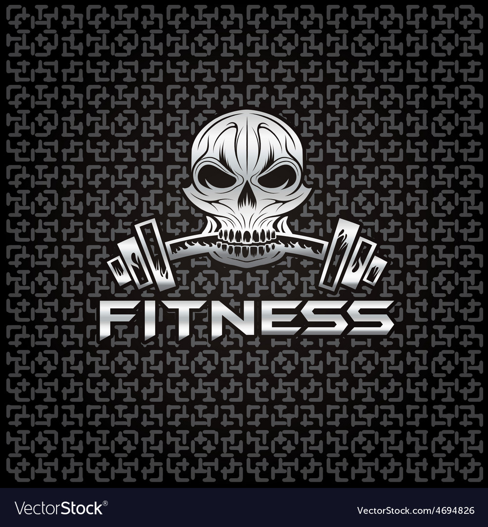 Silver fitness skull vector | Price: 1 Credit (USD $1)