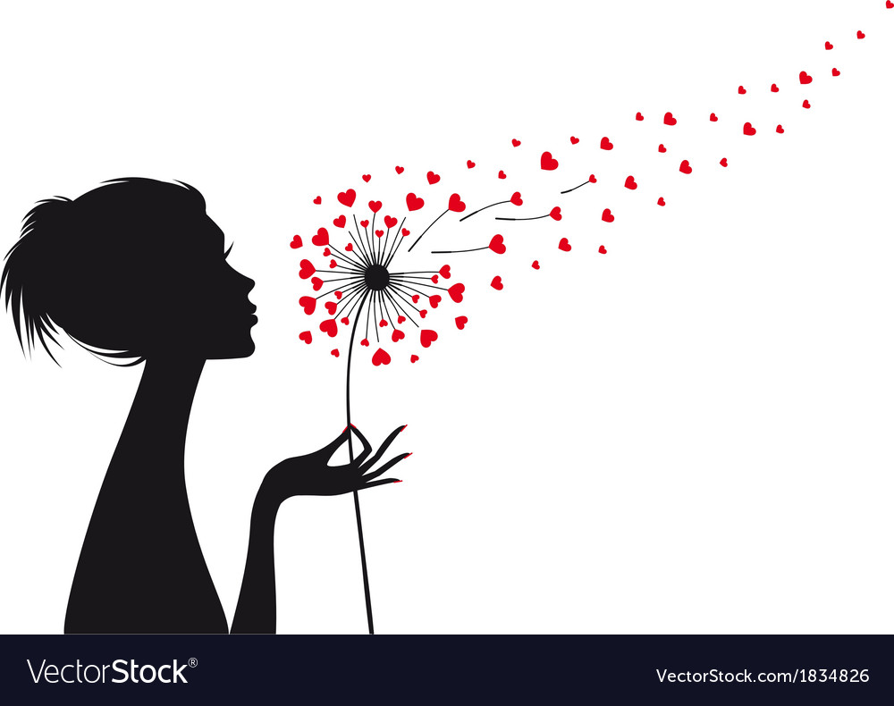 Woman holding dandelion with red hearts vector | Price: 1 Credit (USD $1)