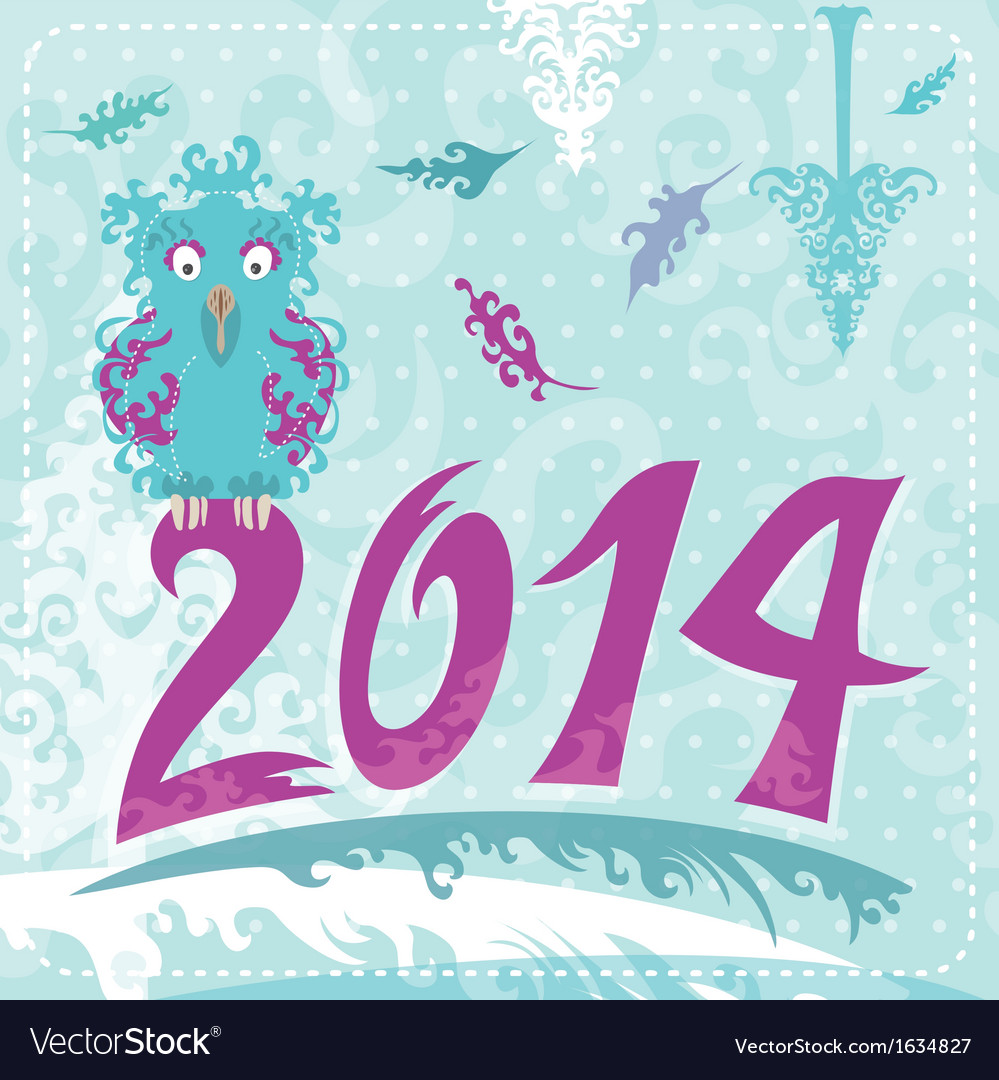 2014 christmas card with owl vector | Price: 1 Credit (USD $1)