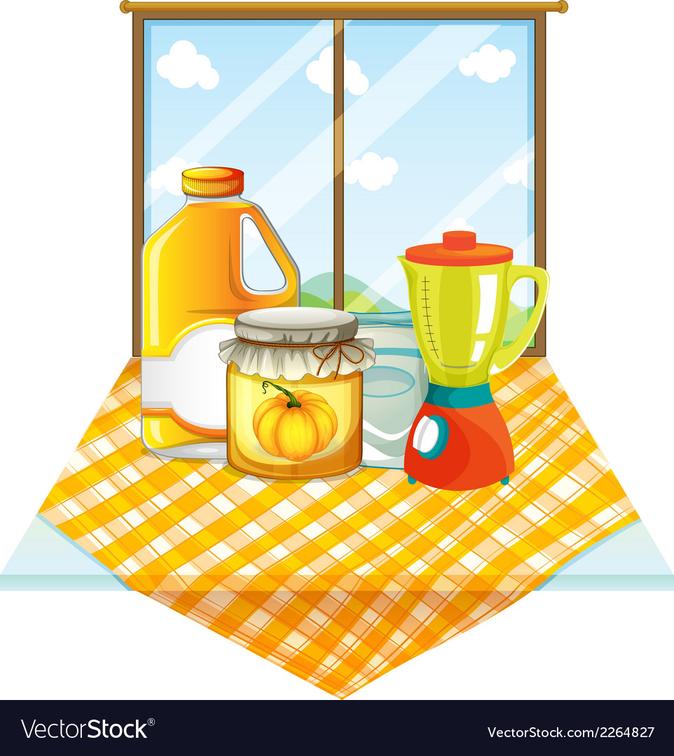 A table with a blender and containers vector | Price: 1 Credit (USD $1)