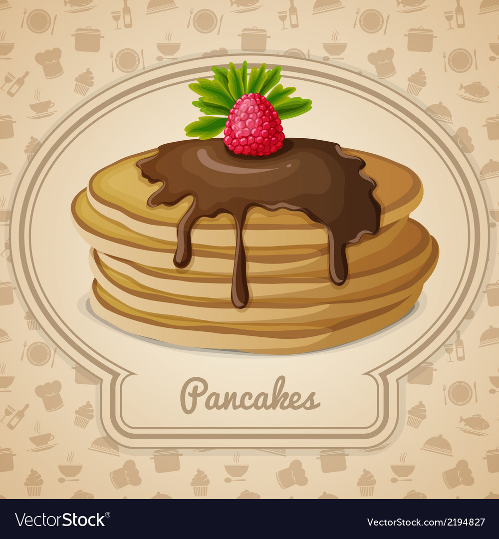 Baked pancakes emblem vector | Price: 1 Credit (USD $1)