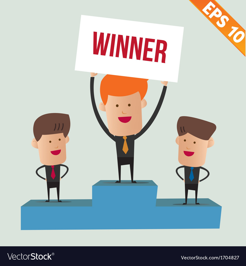 Cartoon business man on winner podium - - ep vector | Price: 1 Credit (USD $1)