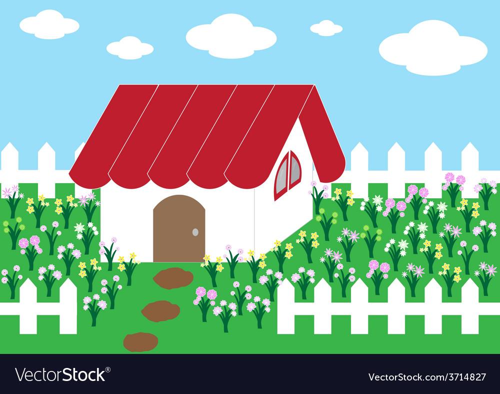 Cute home flower garden1 01 vector | Price: 1 Credit (USD $1)