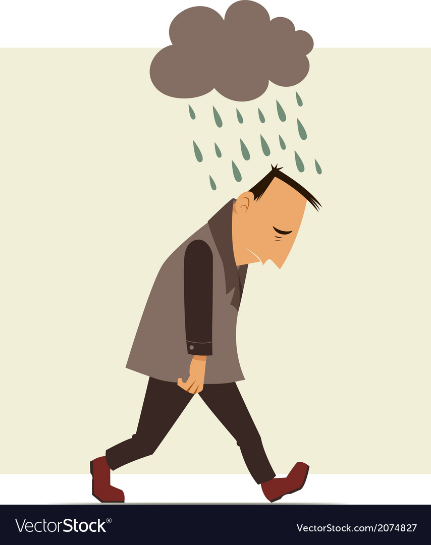 Depressed man vector | Price: 1 Credit (USD $1)
