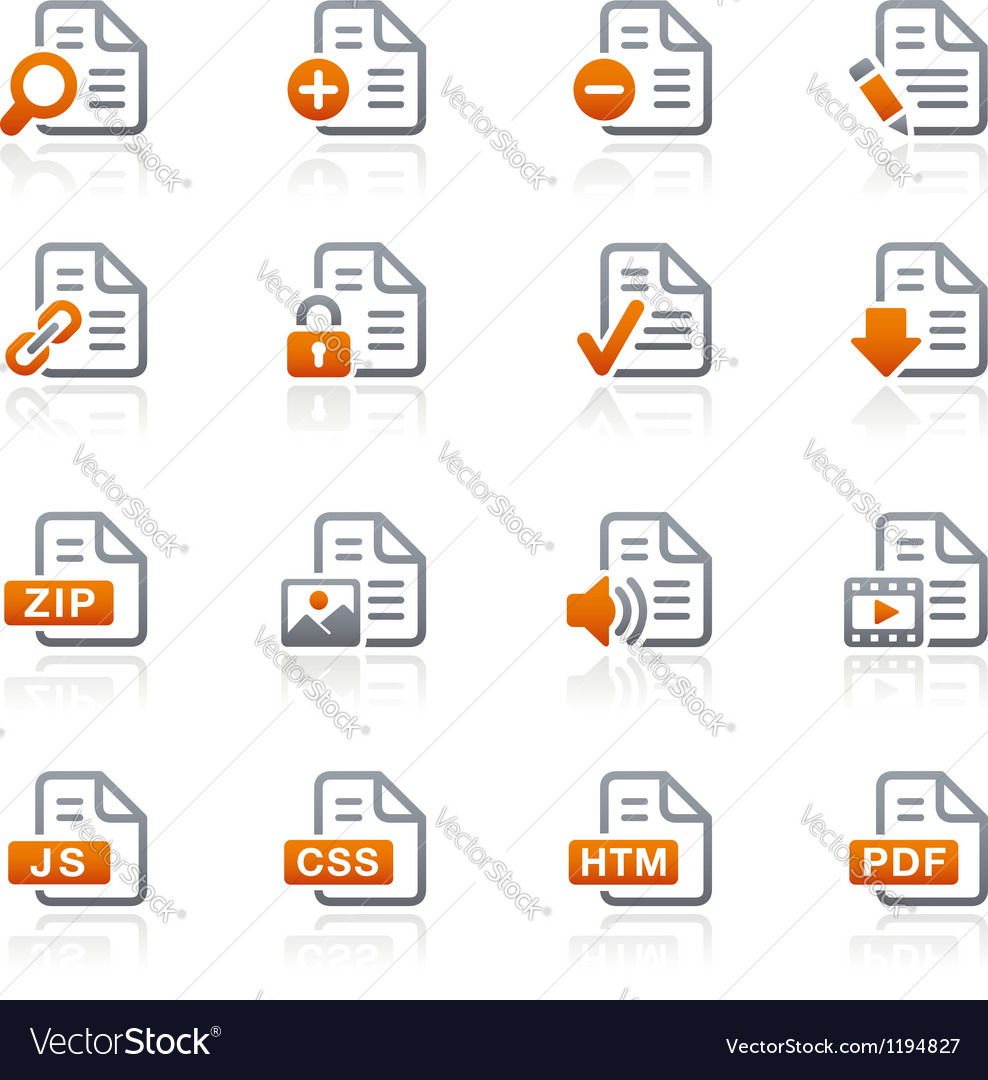 Documents icons 1 graphite series vector | Price: 1 Credit (USD $1)