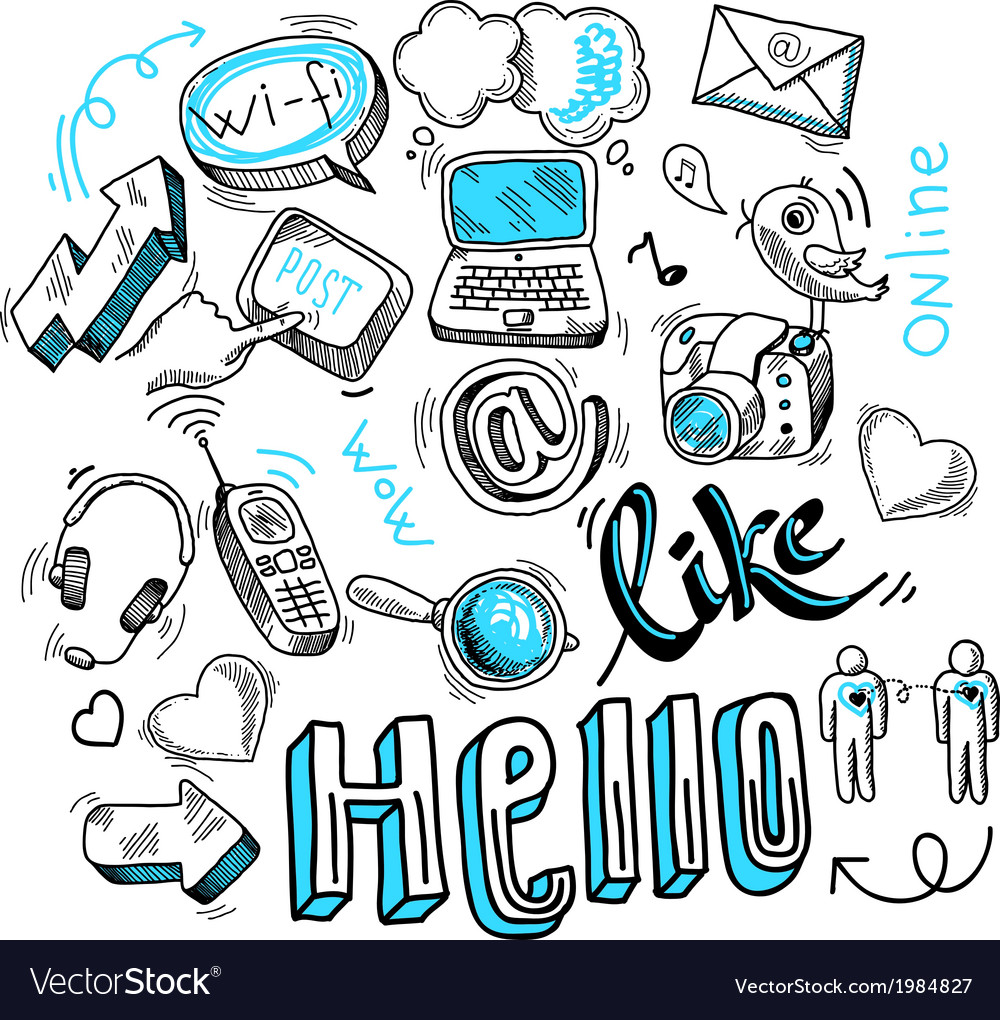 Doodle social media signs vector | Price: 1 Credit (USD $1)