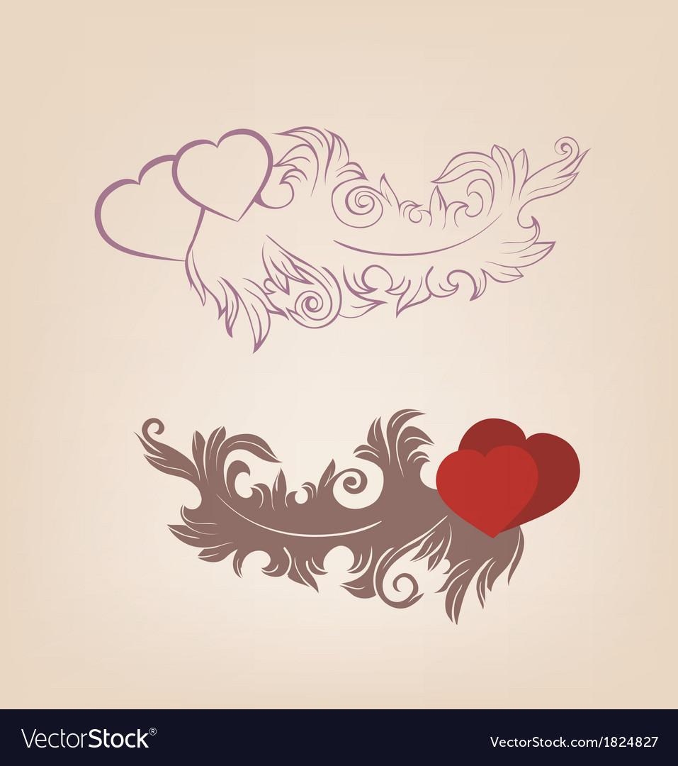 Romantic valentines background heart ornate vector | Price: 1 Credit (USD $1)