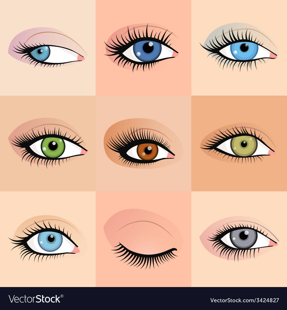 Set of female eyes images with beautifully fashion vector | Price: 1 Credit (USD $1)