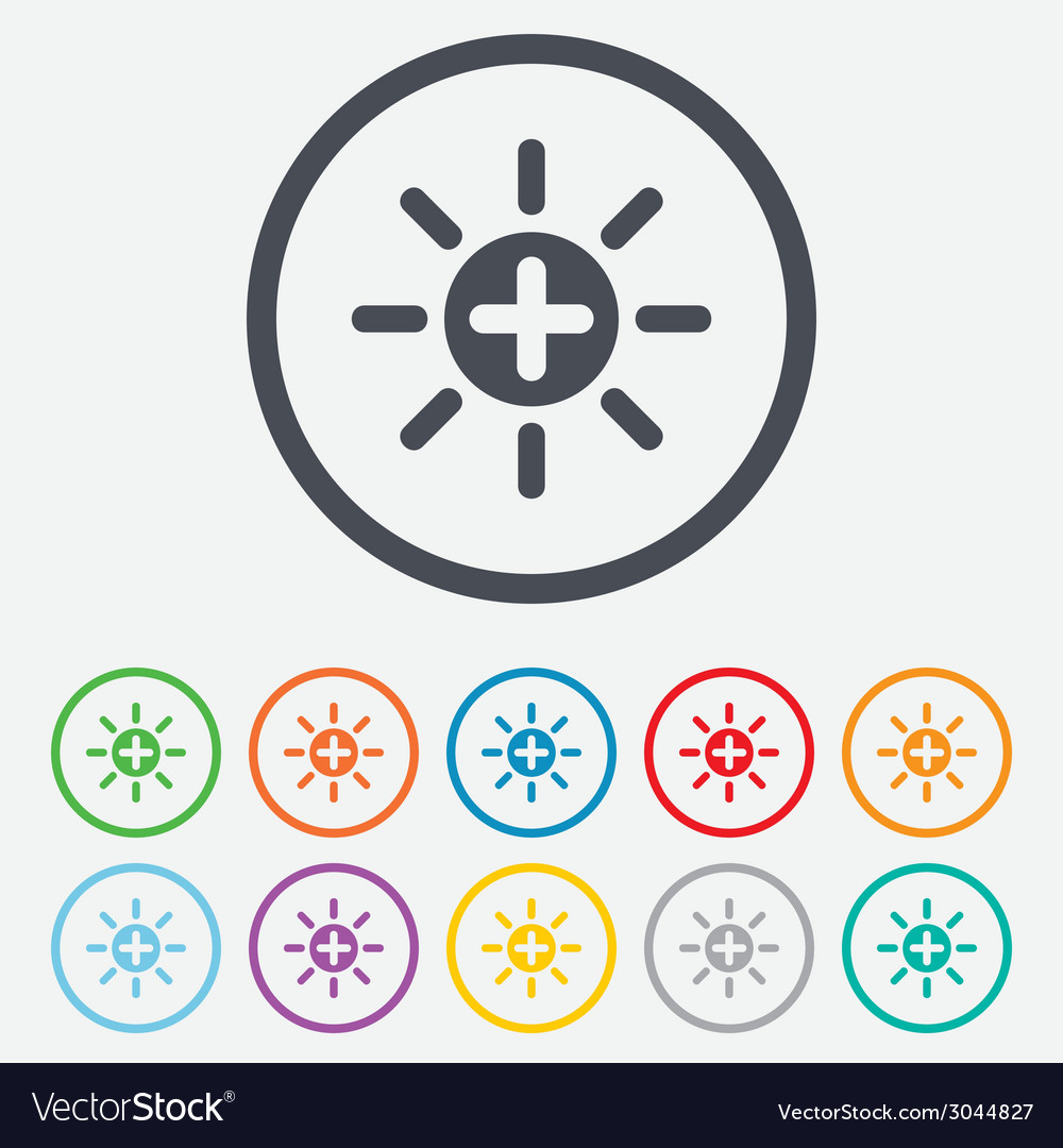 Sun plus sign icon heat symbol brightness vector | Price: 1 Credit (USD $1)