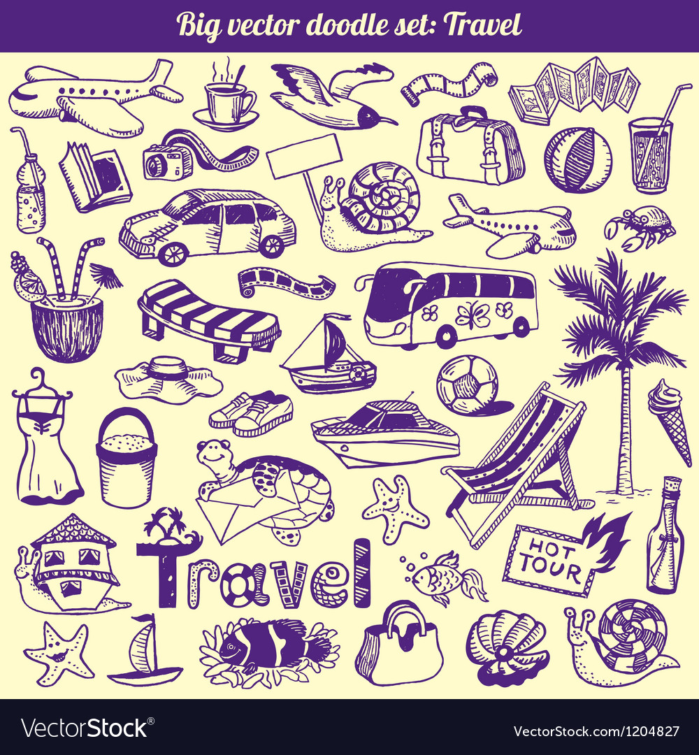 Travel doodles collection vector | Price: 3 Credit (USD $3)