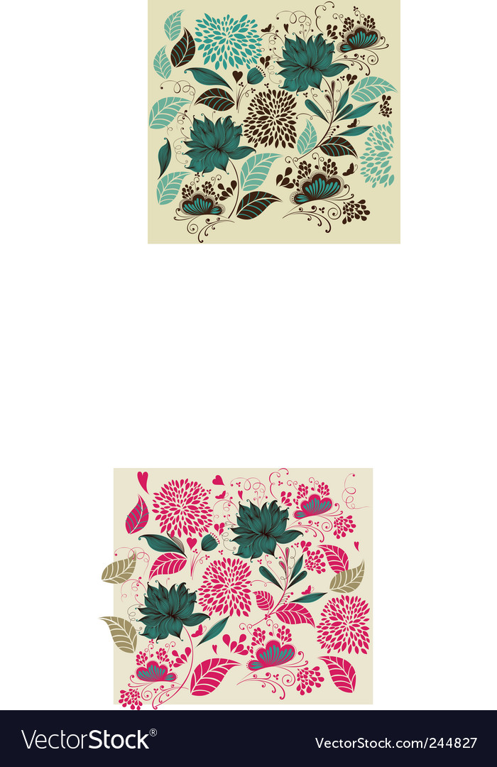 Vintage flower background vector | Price: 1 Credit (USD $1)
