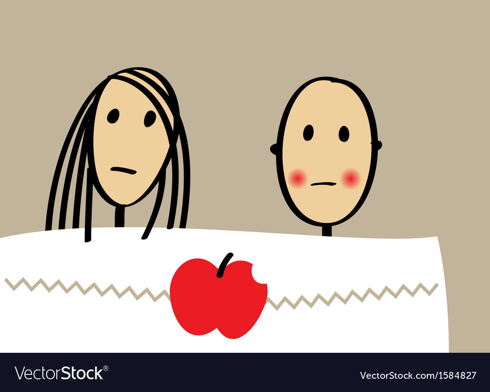 Young couple with apple in bed vector | Price: 1 Credit (USD $1)