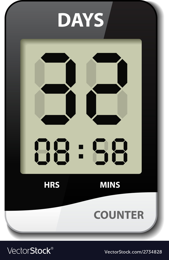 Black white lcd counter - countdown timer vector | Price: 1 Credit (USD $1)