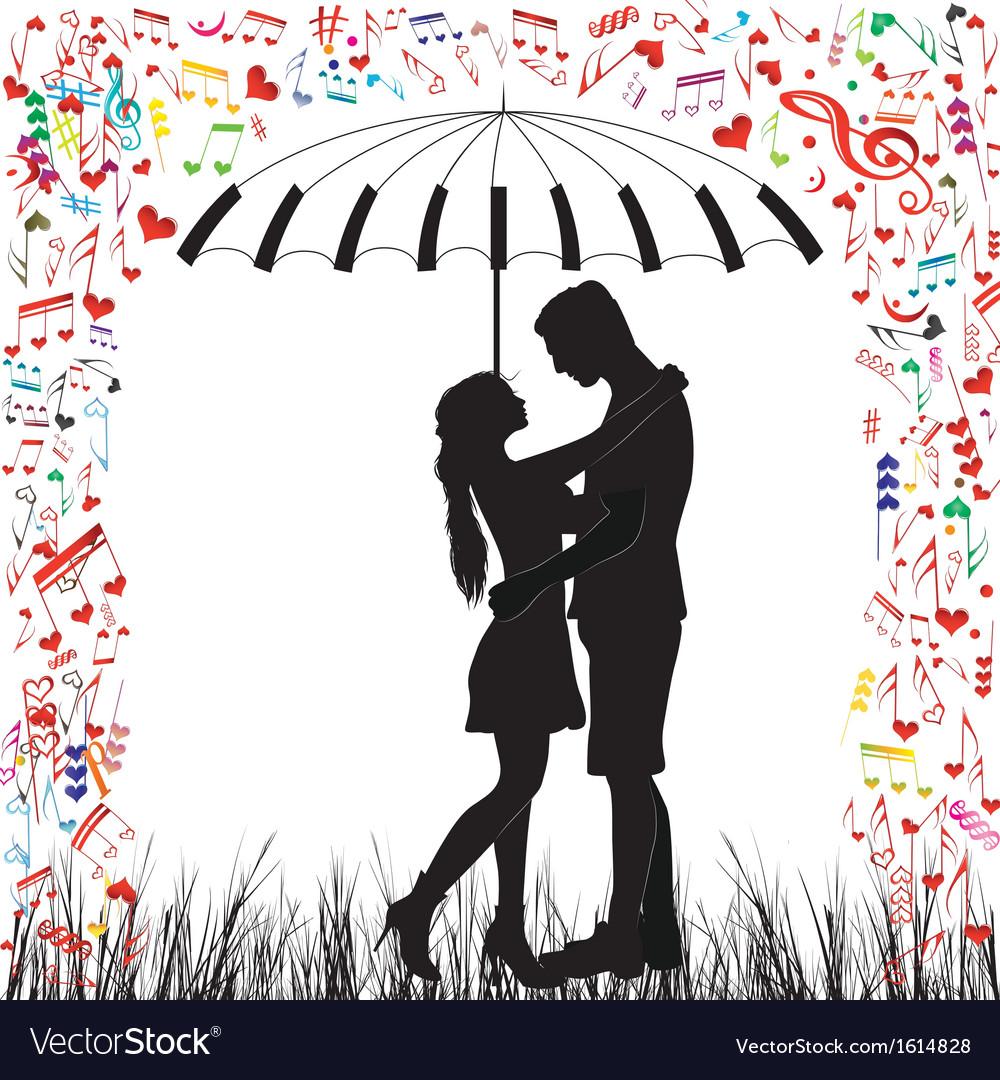 Couple piano kissing couple heart rain vector | Price: 1 Credit (USD $1)