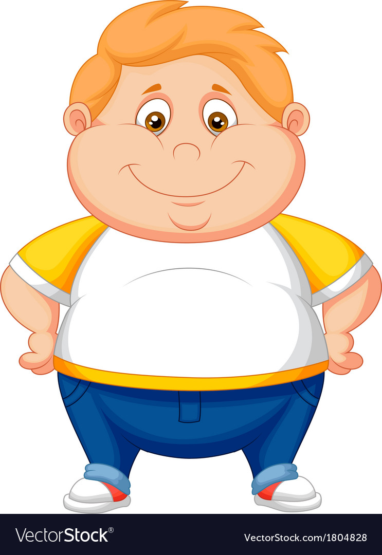 Fat boy cartoon posing vector | Price: 1 Credit (USD $1)