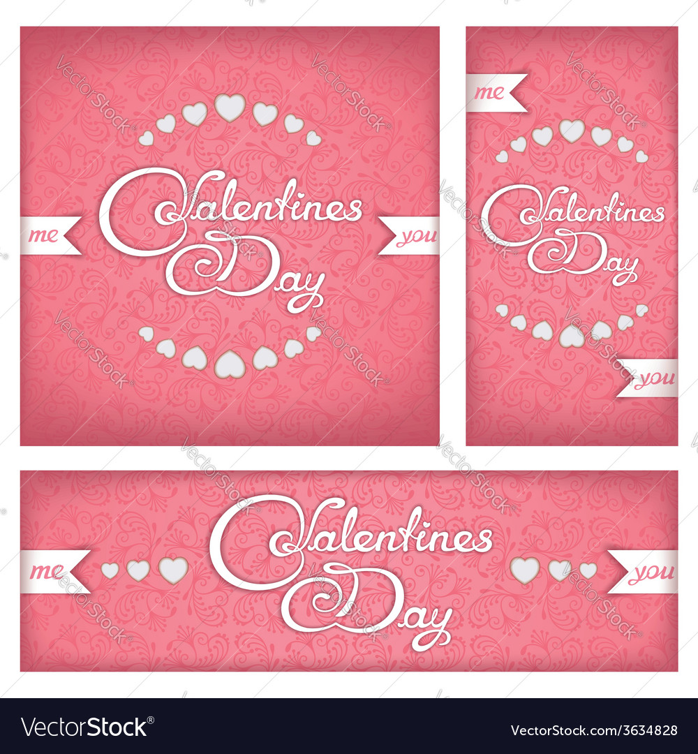 Festive banners and flyers for valentines day vector | Price: 1 Credit (USD $1)