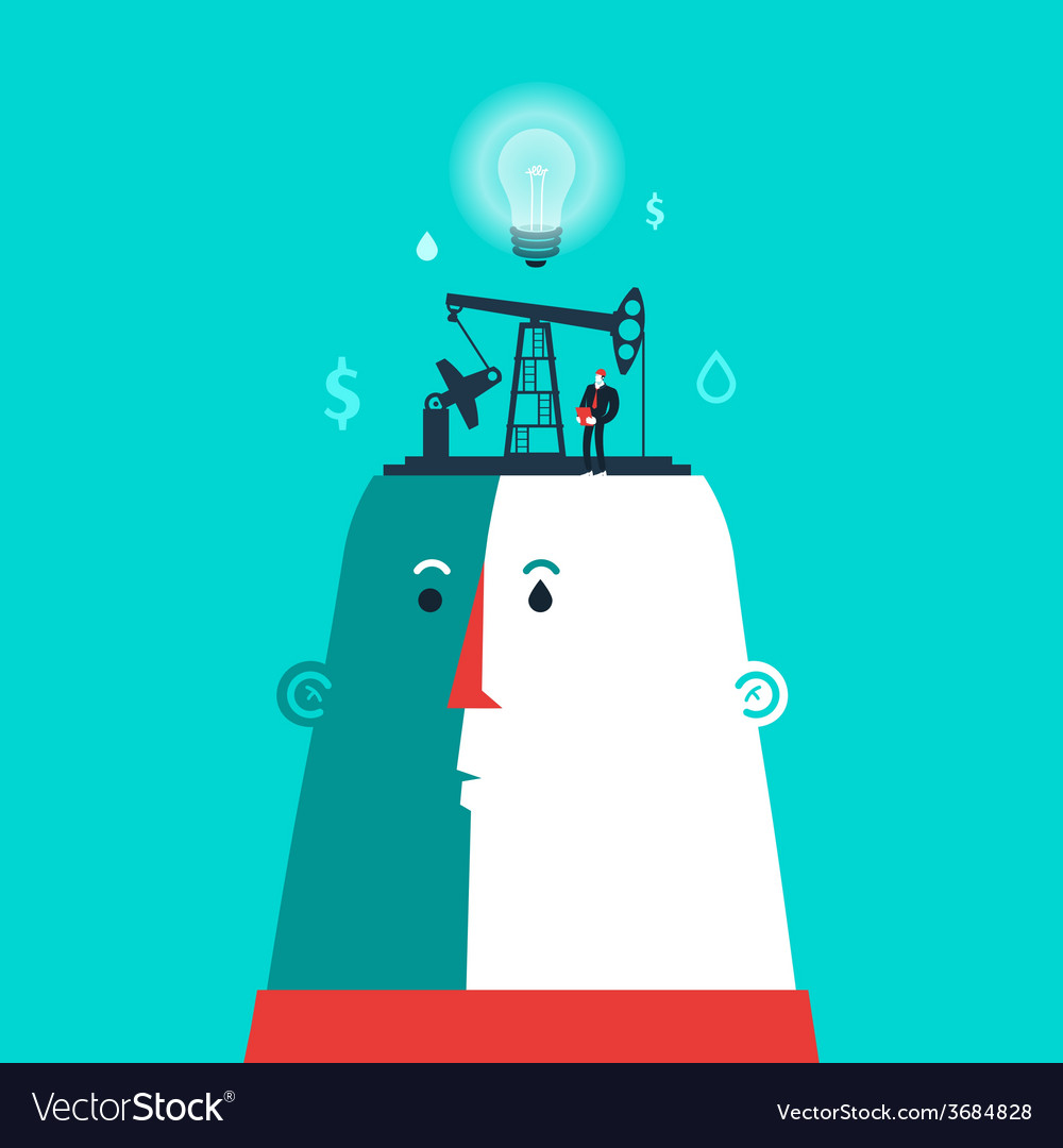 Head with ideas factory and business man vector | Price: 1 Credit (USD $1)