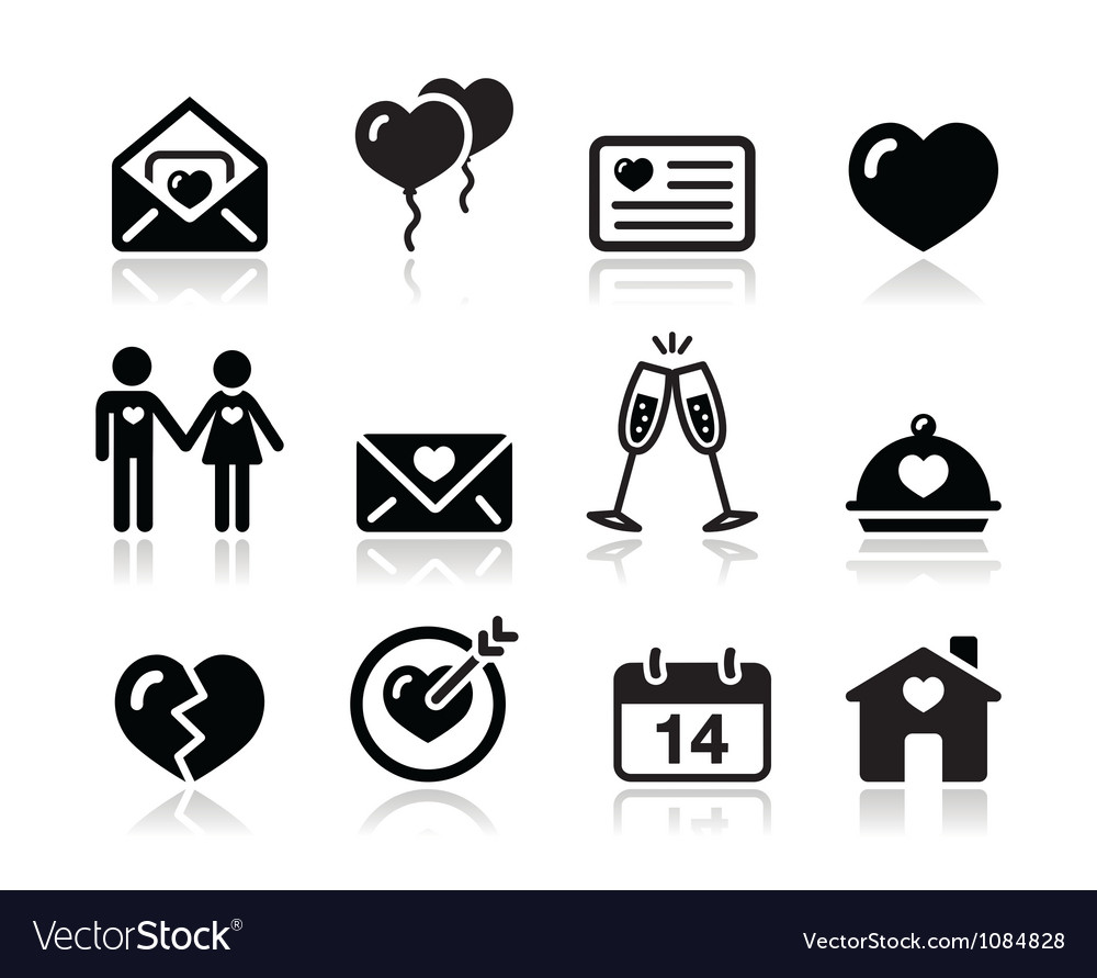 Love valentine black icon set vector | Price: 1 Credit (USD $1)