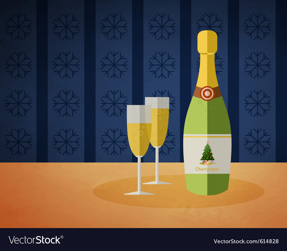 New years champagne bottle vector | Price: 1 Credit (USD $1)