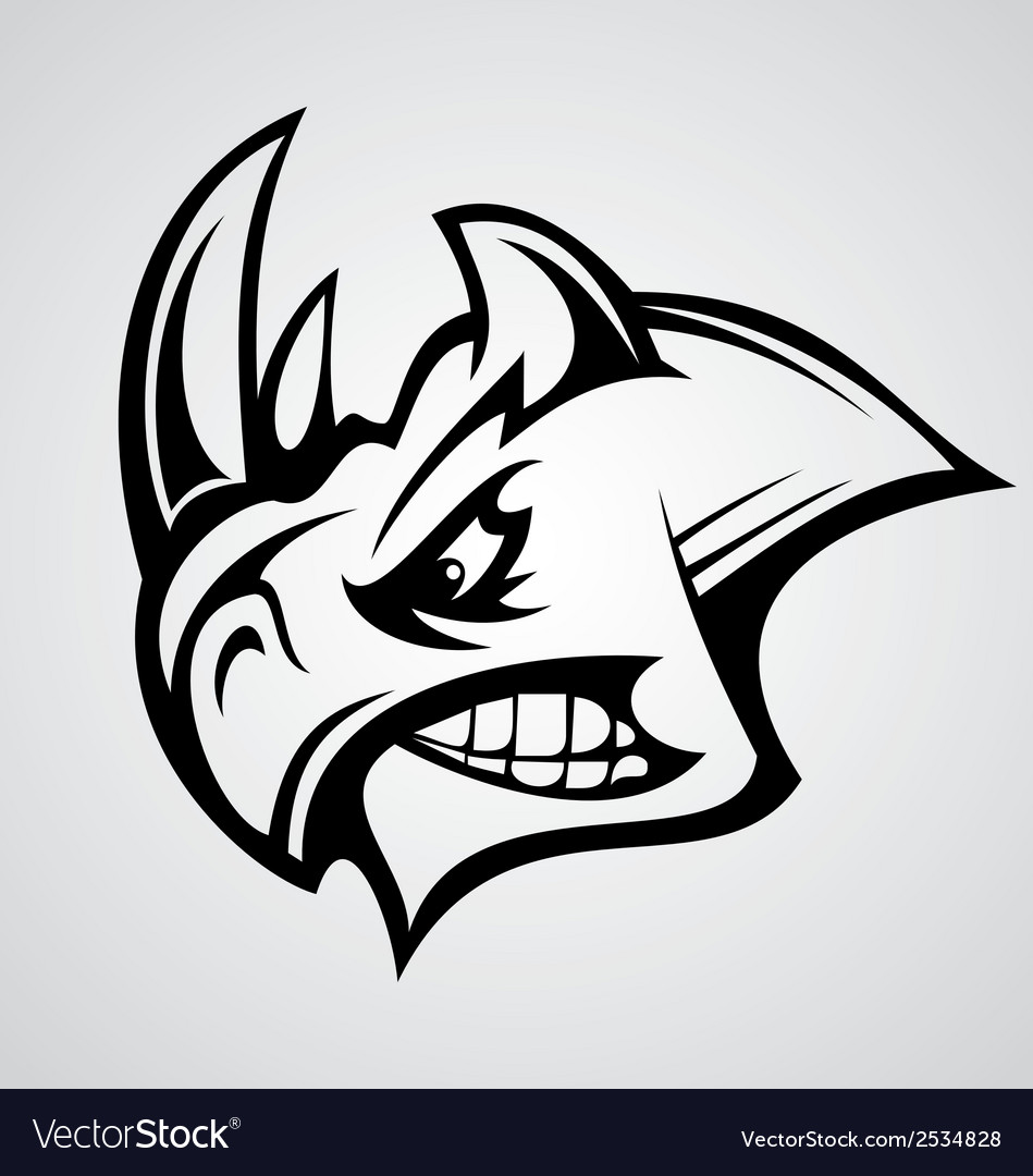Rhino head tattoo vector | Price: 1 Credit (USD $1)