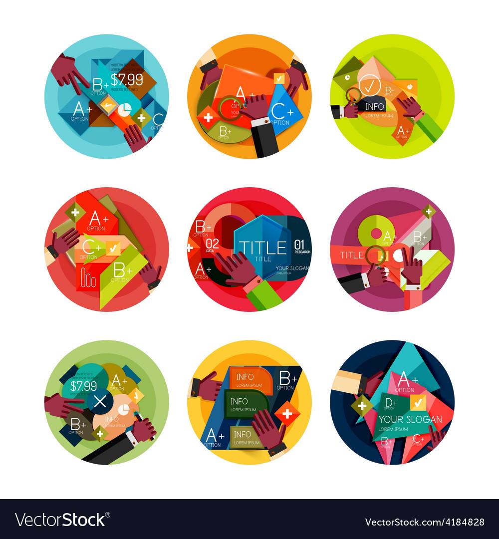 Set of option presentation labels flat design web vector | Price: 1 Credit (USD $1)