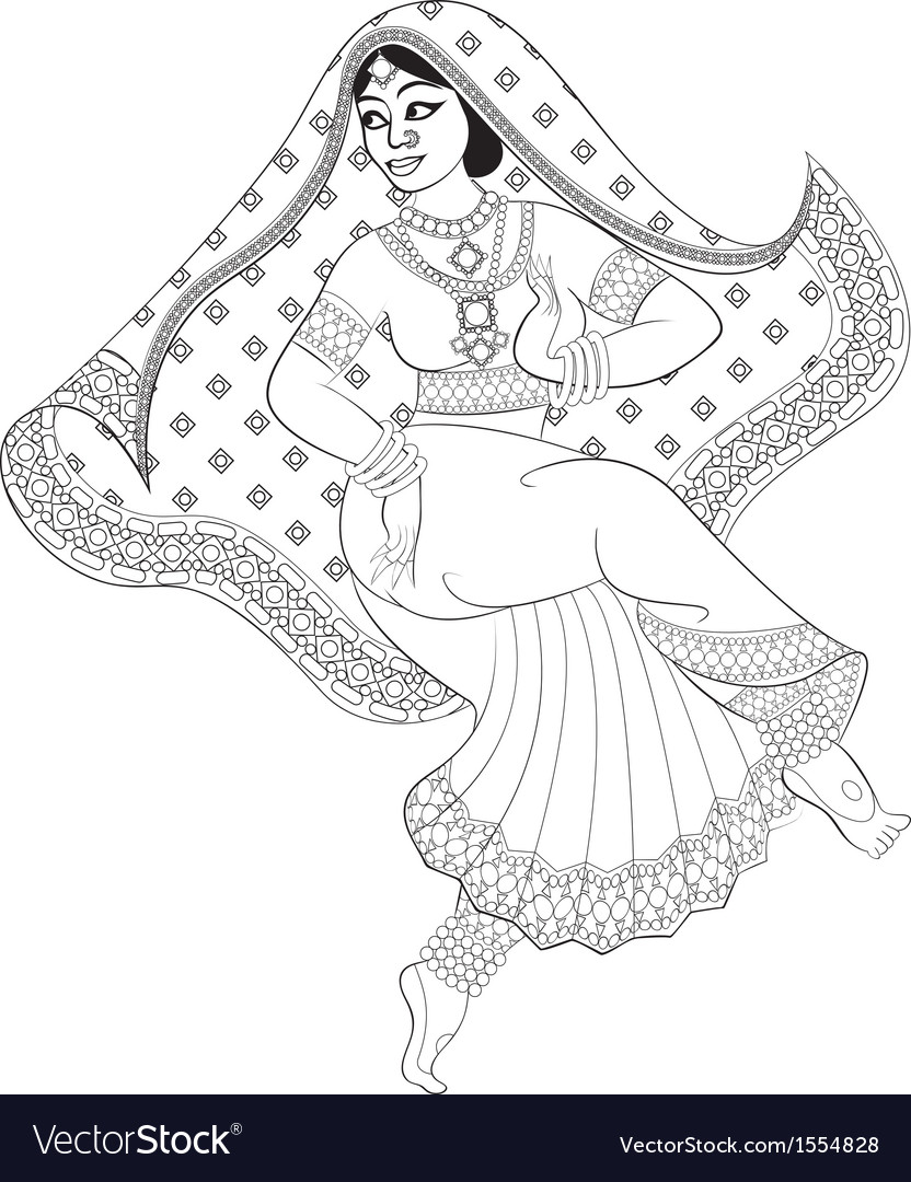 Sketch of dancing indian woman vector | Price: 1 Credit (USD $1)