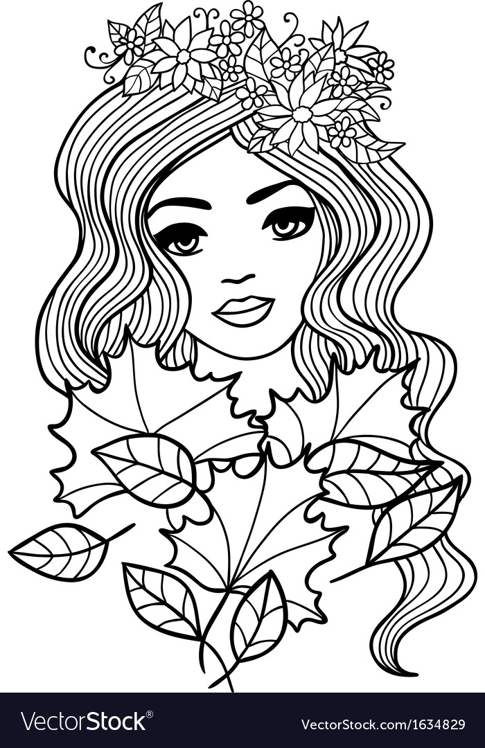 Black and white outline girl with fall leaves vector | Price: 1 Credit (USD $1)
