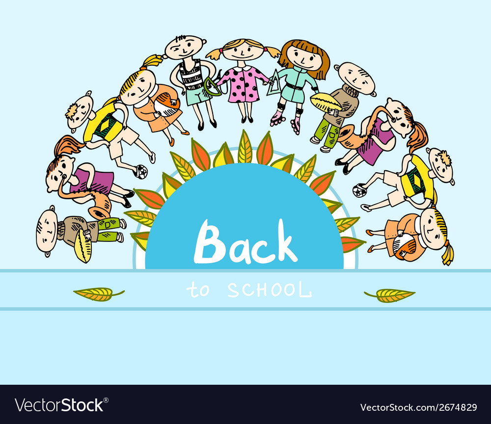 Decorative back to school kids background vector | Price: 1 Credit (USD $1)