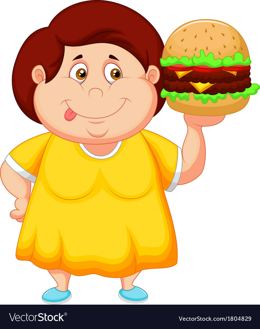 Fat girl cartoon smiling and ready to eat a big ha vector | Price: 1 Credit (USD $1)
