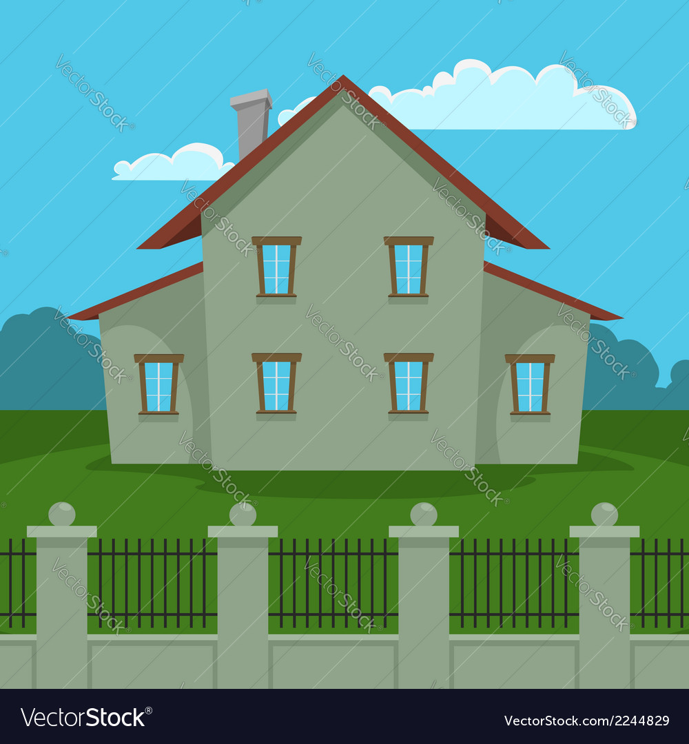 House with fence vector | Price: 1 Credit (USD $1)