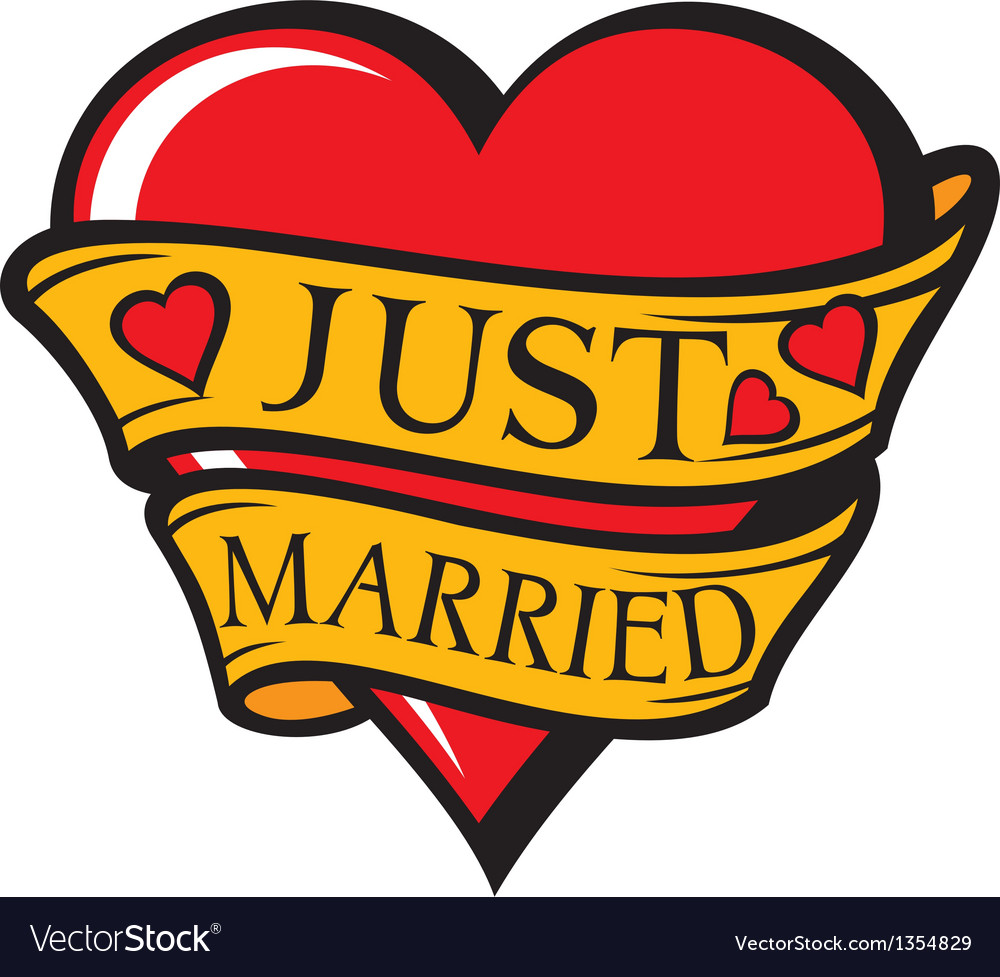 Just married design-heart vector | Price: 1 Credit (USD $1)