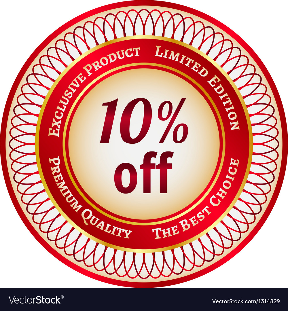 Label on 10 percent discount vector | Price: 1 Credit (USD $1)