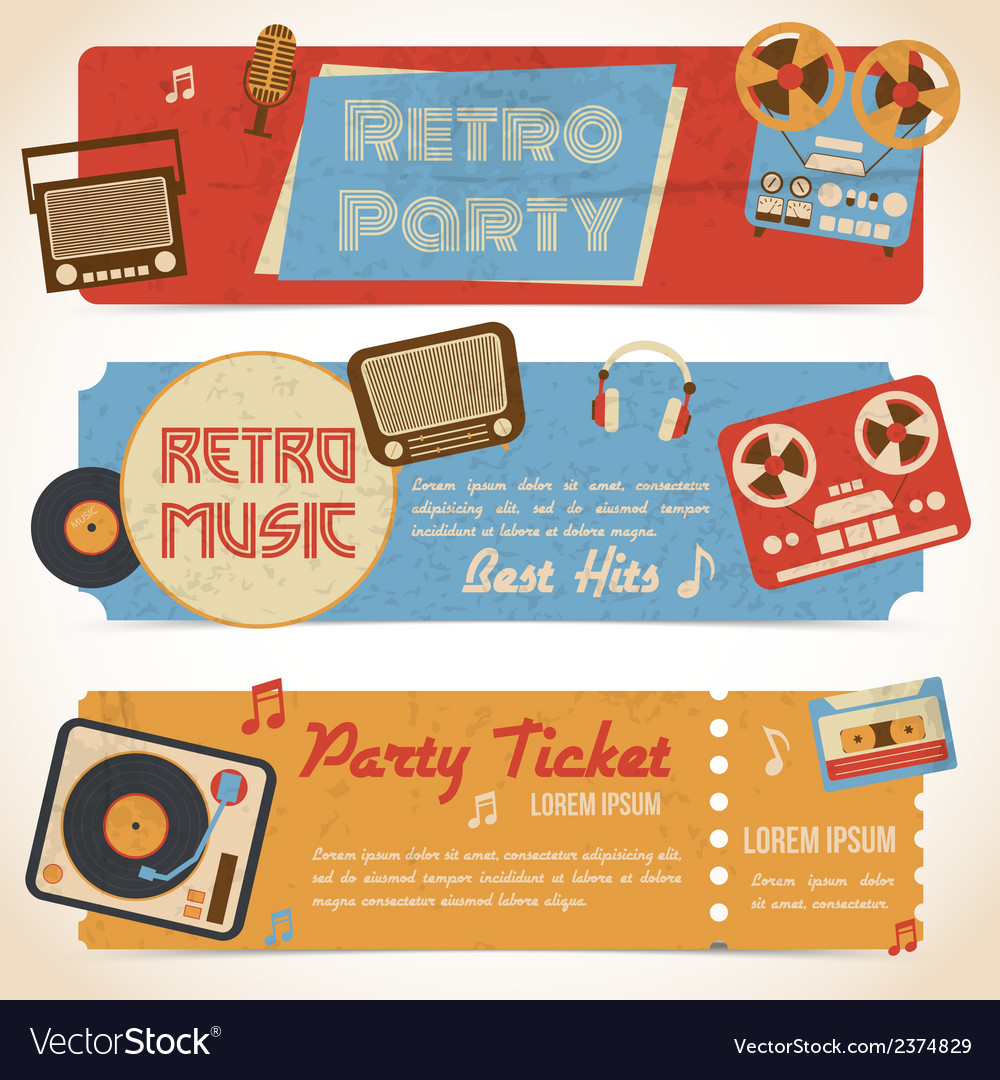 Music retro banners vector | Price: 1 Credit (USD $1)
