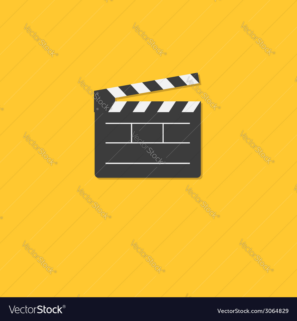 Open movie clapper board template icon flat design vector | Price: 1 Credit (USD $1)