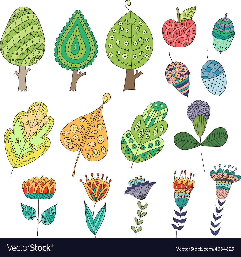 Set of cartoon doodle trees flowers fruits vector