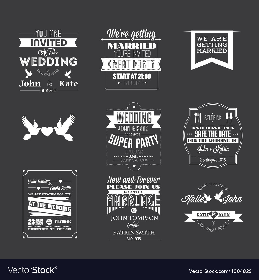 Set of wedding invitations vector | Price: 1 Credit (USD $1)