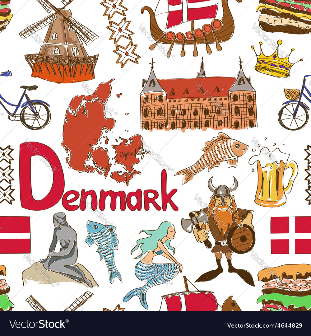 Sketch denmark seamless pattern vector | Price: 1 Credit (USD $1)