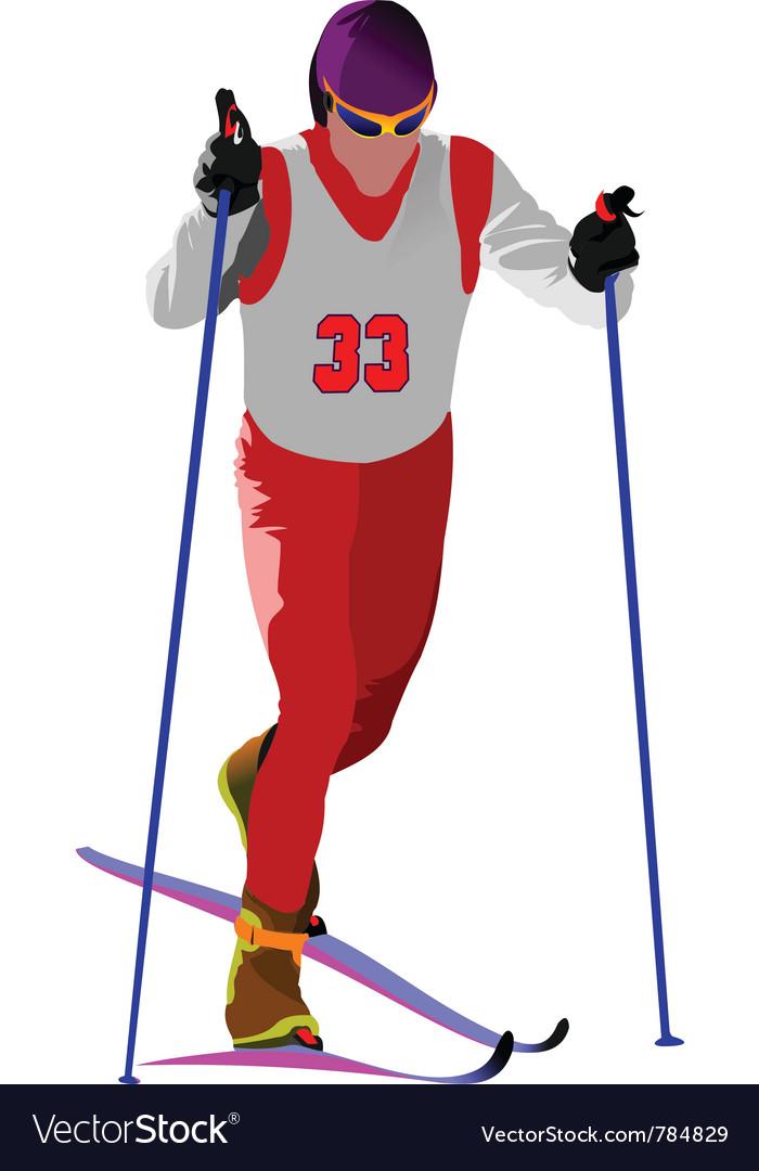 Snow skiing vector | Price: 1 Credit (USD $1)